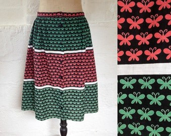 1950s Red & Green Butterfly Print Skirt with White Stripes / 50s Cotton Skirt / Vintage Skirt / Size UK 14