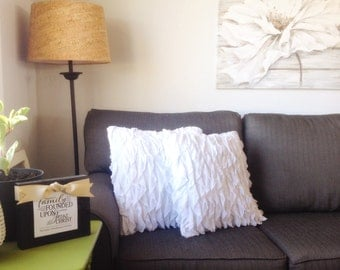 White Ruffle Pillow Cover