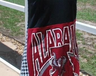 University of Alabama Crimson Tide Game Day One Shoulder Dress Upcycled T-shirts, size small, medium or large