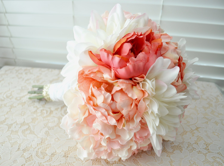 SALE Wedding Bridal Bouquet Pink Peony White Dahlia Bridal