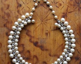 Glamorous Vintage 1950's Rhinestone & Pearl Choker Necklace