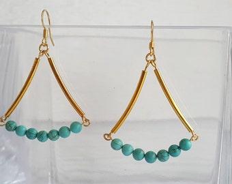 Blue Magnesite Gold Plated Dangle Earrings