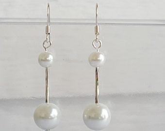 White Glass Pearl Silver Drop Earrings