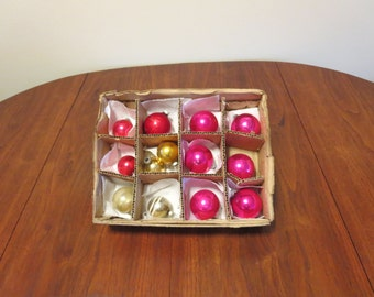 """50% OFF SALE lot 13 vintage 1950s 1960s Shiny Brite Christmas tree glass ornaments decorations pink gold silver 1 3/4"""" to 2 1/4"""""""
