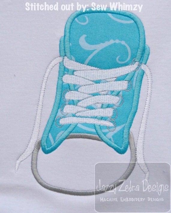 tennis shoe applique embroidery design shoe applique design