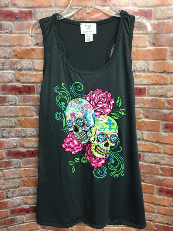 Sugar skull tanks-womens tanks-tanks-womens clothing-racerback tank