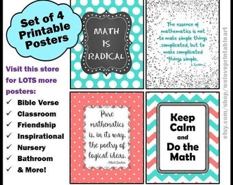 Math Classroom Decor, Math Posters, Aqua and Coral, Math Signs, Math Teacher Gift, Back to School, Math Gifts, Keep Calm and Do the Math