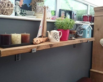 Handmade Solid Reclaimed Wood Shelf and handmade Solid Steel Brackets