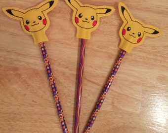 Pikachu Pencil Topper and Pencil-Vinyl and Felt- Embroidered-Pokemon