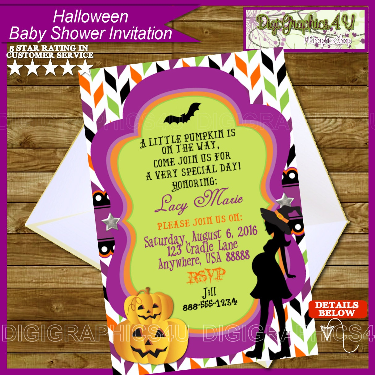 halloween baby shower personalized invitation by digigraphics4u