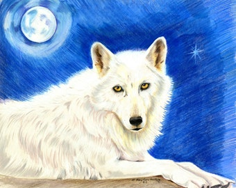 White Wolf Drawing, Coloured Pencil Drawing of a wolf, Living Room Art,Wolf Art, White Wolf Art, Wildlife Art