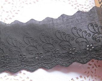 """2 Yards Lace Trim Black Cotton Trim Floral Embroidery Lace Wedding Trim 3.14"""" width"""