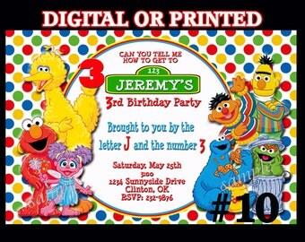 Sesame Street Birthday Invitations Printable YOU PRINT or PRINTED Invitations