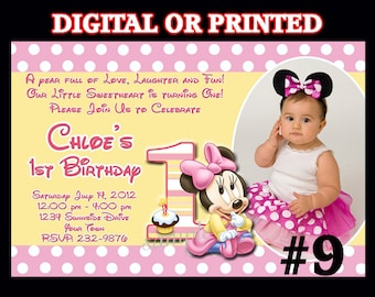 Baby Minnie Mouse First Birthday Invitation YOU Print Digital File or PRINTED - Minnie Mouse 1st Birthday Invitation  w / photo