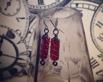 Deep Red & Black Wire Wrapped Earrings