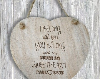 ON SALE Personalised wooden valentines heart