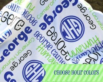 Baby Name Blanket with Monogram - Personalized Baby Blanket - Custom Receiving Blanket - Newborn Hospital Blanket - Baby Shower Gift