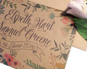 Rustic Country Vintage Floral Wedding Invitations and menu option - sample