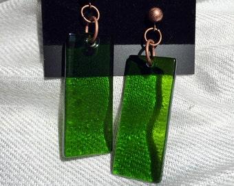 Bottle green glass earrings