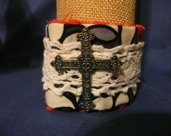 fabric cross cuff bracelet