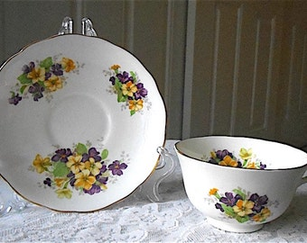 Vintage Radford Bone China Purple and Yellow Floral Tea Cup and Saucer