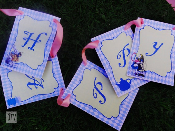 Alice in Wonderland - Personalised  - Purple - Pink - Check - Birthday - Banner - Bunting - Tea Party - PRINTABLE - PDF - Digital Files