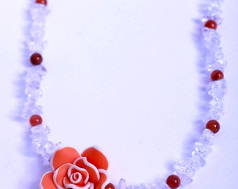 Clear Quartz and Red Aventurine with Flower Necklace