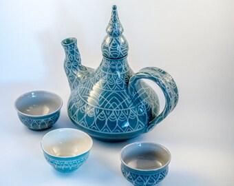 ON SALE!!!! Handmade Morrocan Inspired Teapot Set