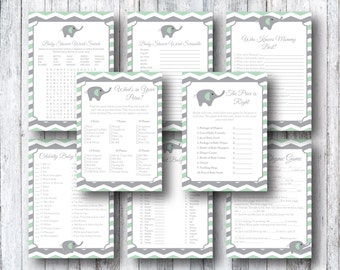 Printable Mint Green Elephant Baby Shower Games Package  - Price Is Right, Nursery Rhyme Game, Word Search, Celebrity Baby Name - Chevron
