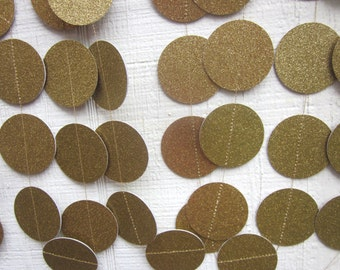 Gold Glitter Paper Circles Garland,  Wedding Garland, Birthday Party, Baby Shower Garland, Photo Prop, Bridal Shower, Shabby Chic