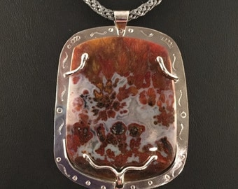 Plume Agate in Sterling Silver Pendant