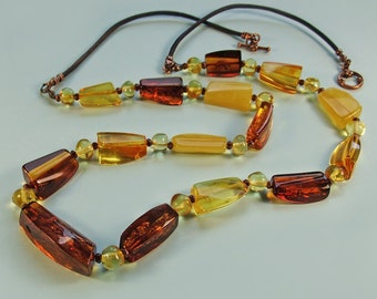 Free form beads genuine Baltic amber necklace