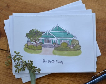 Custom House Portrait Notecards
