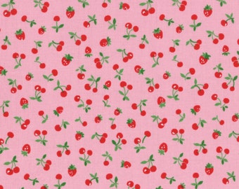Old New 30's  - Tiny Strawberries & Cherries(Pink Background) - Lecien - Japan, Inc