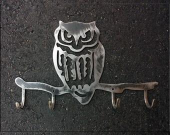 Owl with Hooks Metal Art