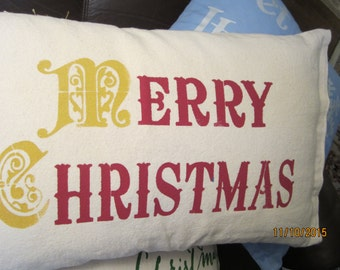 Merry Christmas stenciled throw pillow