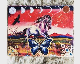 Hand painted hand transfered Blue Morpho Unicorn Moon Meditation