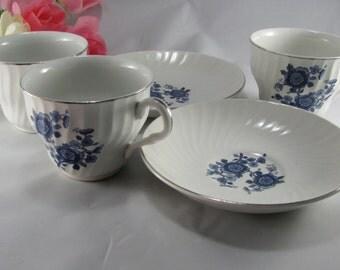 Royal Blue Ironstone, 5pc Cottage Tea Set, Vintage Wedgwood China Teacups, Bridal Shower Gift, Tea Lover, Cottage Gift For Her