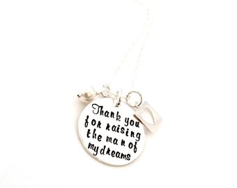 Personalized Sterling Silver Hand Stamped Necklace - Hand stamped necklace - Thanks you for raising- Valentine's Day Gift