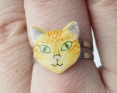 Ginger/ orange tabby cute cat/ kitten ring. Shrink plastic on an adjustable silver plated ring. Can be customized.