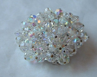 Sparkly AB glass beaded brooch