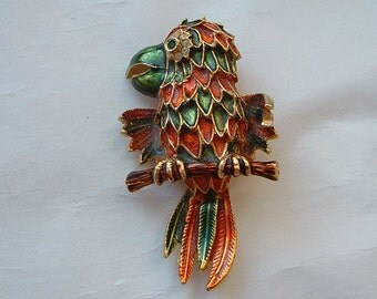 Large colourful enamel parrot brooch