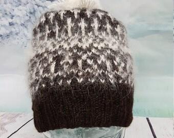 Hand made hat.Sheep wool  poof beanie