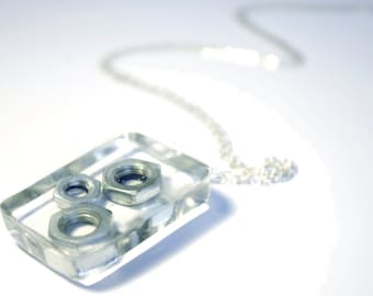 Hex Nut Resin Pendant - Necklace