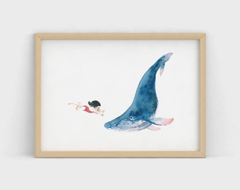 Whale and Girl Watercolour:  A4 Print
