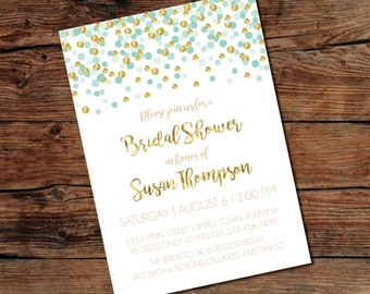 PRINTABLE Gold Confetti Invitation - Bridal Shower - Baby Shower - Print-at-Home