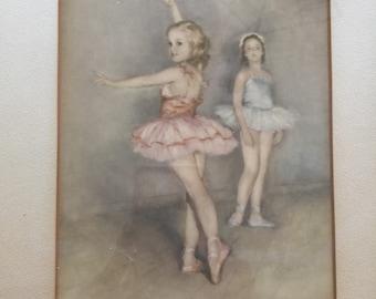 Vintage Framed Ballerina Print Fifties