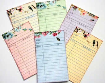 Decorative Library Cards, Vintage Inspired, Shabby Cottage Chic, Flowers, Birds, Pastel Colors, Set of 6 or 12