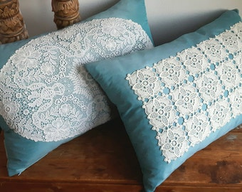 Turqoise Decorative pillow covers with Brussels lace