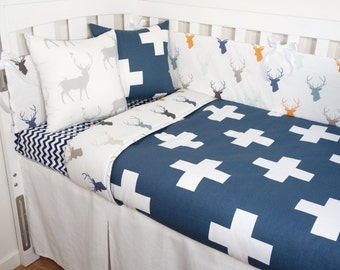 Deer and geometric crosses nursery set - Navy, orange, mint, beige